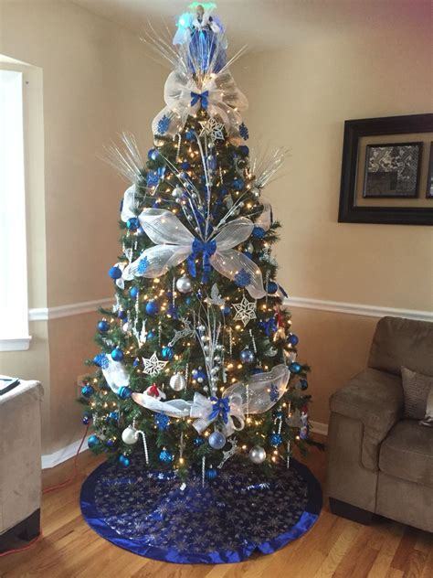 royal blue white  silver christmas tree love