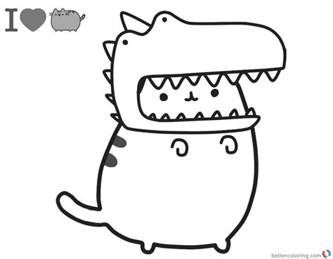 pusheen coloring pages cute dinosaur hat printable