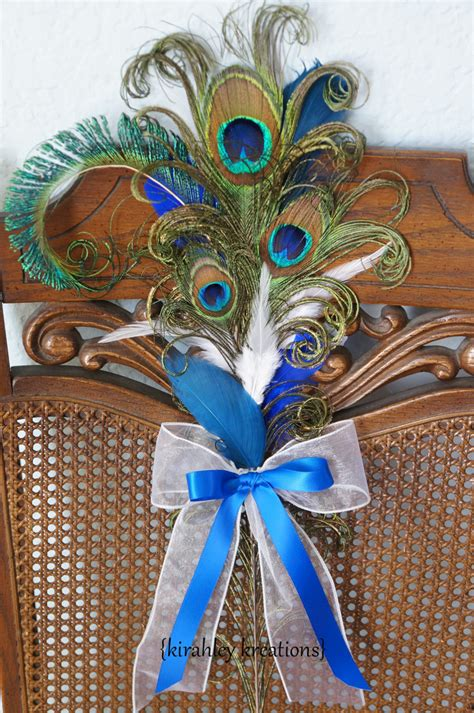 Peacock Pew Bows Ceremony Aisle Blue Feather Decoration Bride