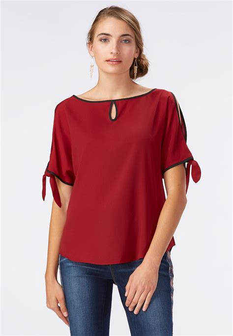 cold shoulder blouses tie sleeve cold shoulder top shirts blouses cato fashions