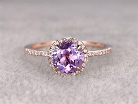 amethyst engagement ring halo wedding ring