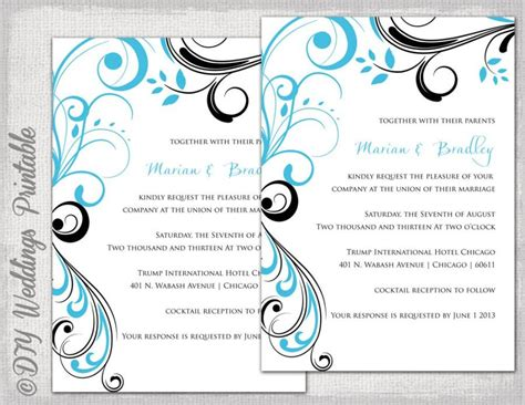 turquoise template wedding invitation templates turquoise and black quot scroll