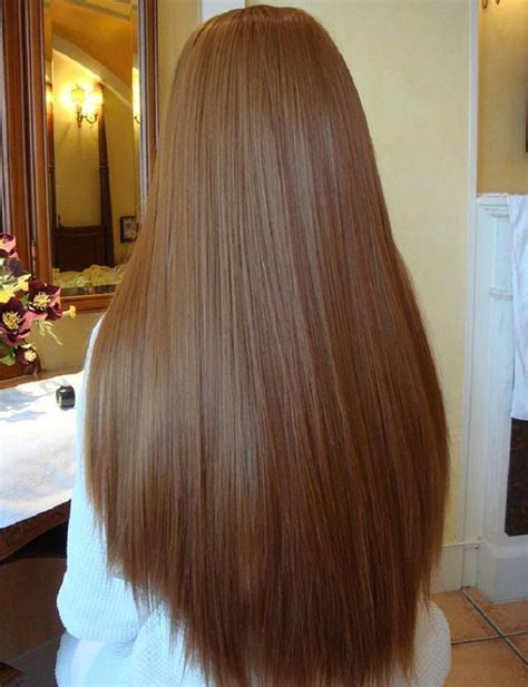 straight brown waist length curve cut strong thick