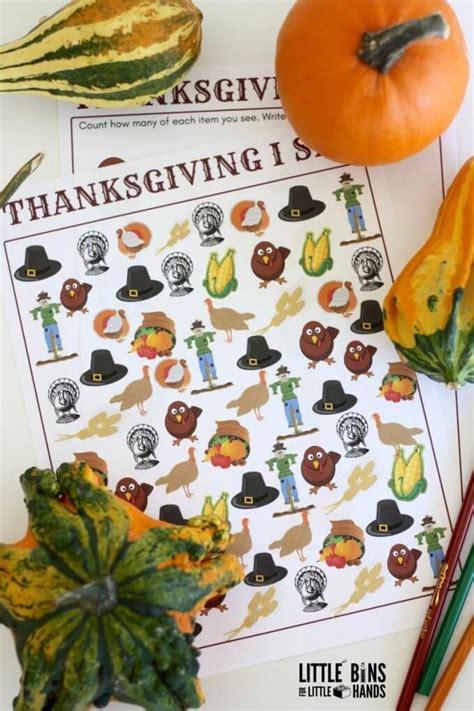 spy thanksgiving printables  preschoolers