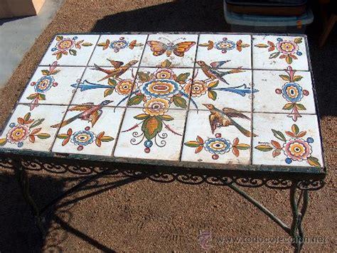 antigua mesa baja de hierro  jardin  mos vendido