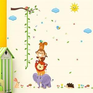 Lion Growth Chart Animal Monky Bird Lion Sky Sun Tree Baby Child Height