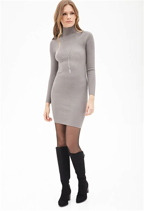 forever 21 sweater dress forever 21 ribbed high neck sweater dress in gray lyst