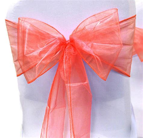chair sashes wedding chair sashes chair bows coral organza