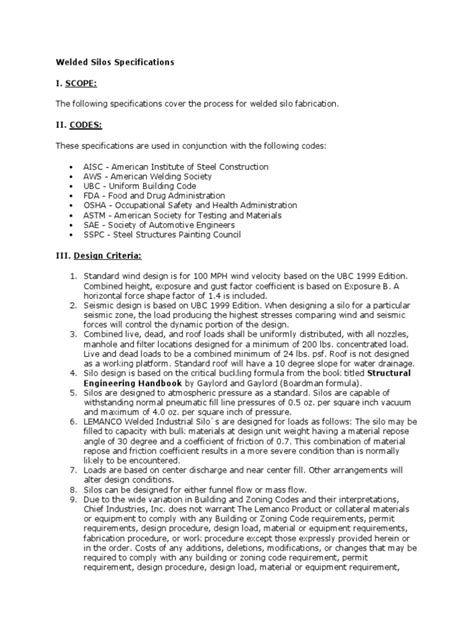 Welded Silos Specifications | Structural Steel | Welding