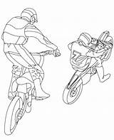 Coloring Motor Racing Race Printable Motorbikes Motocross Cross sketch template