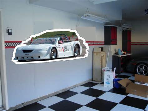 custom die cut garage wall art  car   garage wall