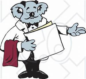 Clipart Illustration of a Koala Host Seating Customers At ...