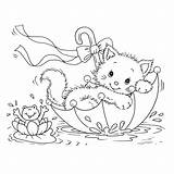 Coloring Cat Pages Printable Cats Colouring Kitten Kitty Kittens Cute Sheet Flowers Animal Playing Happy sketch template