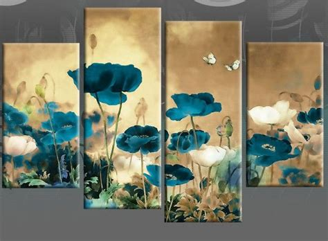 teal beige canvas art chinese floral flower split multi
