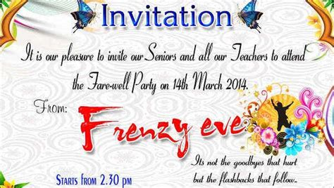 Invitation To Teachers For Farewell Party