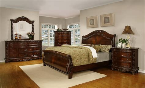 Sleigh Bedroom Set by Oasis Home Patterson Sleigh Bedroom Set In Rich Pecan