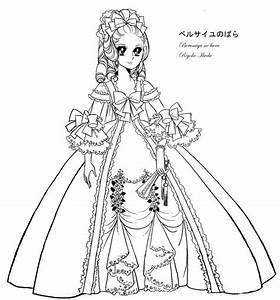 Marie Antoinette Lady Oscar Coloring Sheet Line By Emilie