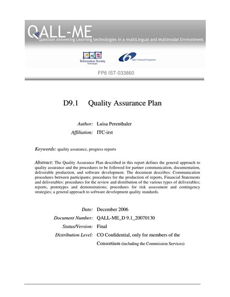 learning technology project quality assurance plan example