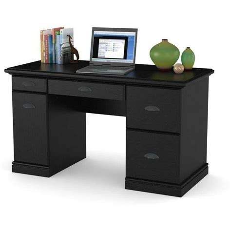 home office computer laptop desk desktop table black