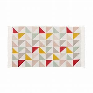 tapis motif triangles en coton 60 x 100 cm lea maisons With tapis motif scandinave