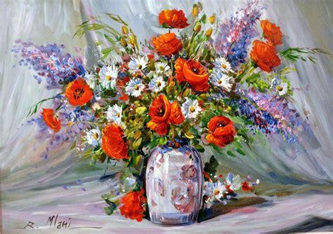 fiori ad olio dipinto ad olio con cornice in legno laccata oro vaso di