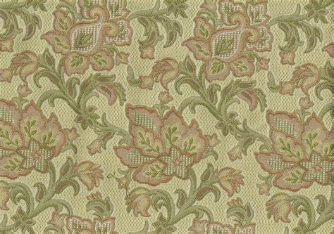 Designer Fabric Beige Green Gold Rust Floral Print Drapery