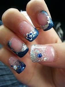 Prom nails Royal blue French tips Glitter Stars Flower ...