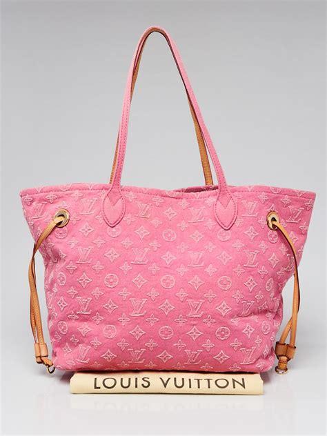 louis vuitton pink denim monogram stone neverfull mm bag yoogis closet