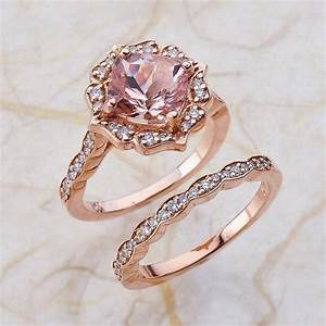 vintage bridal set morganite engagement ring and scalloped With rose gold engagement ring and wedding band