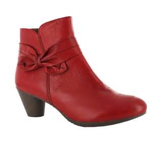 Red Leather Ankle Boots Women