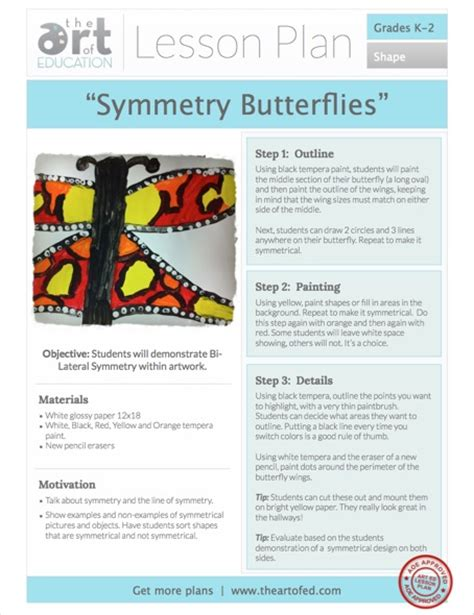 Symmetry Butterflies Free Lesson Plan Download  The Art Of Ed