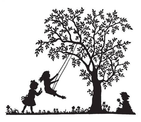 girl  swing  park  garden  spring silhouette