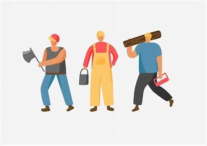 Cartoon Labor Labour Worker Farmer Working Psd
