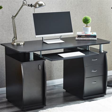 raygar deluxe computer desk with cabinet and 3 drawers