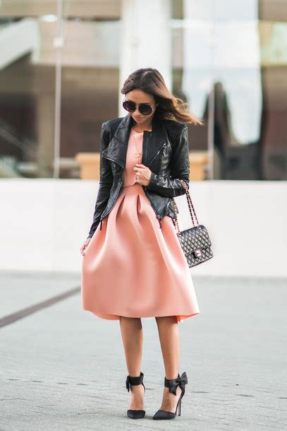 Lace and locks blogger leather jacket peach peach dress date outfit rebecca minkoff bow ...
