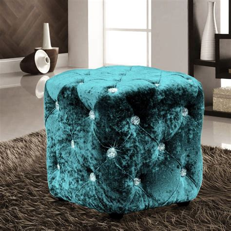 teal luxury crushed velvet diamante foot stool cushion