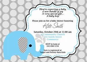 Printable Blue Elephant Baby Shower Invitation. Customized