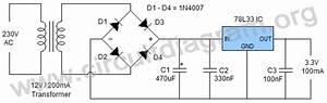3 3v Dc Power Supply Using L78l33 Ic