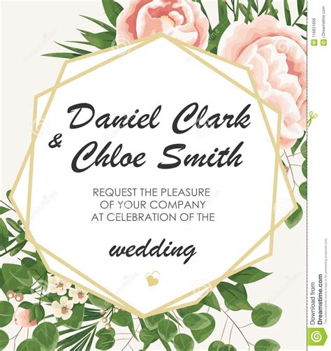 Wedding Invitation Template With Peonies Flowers And