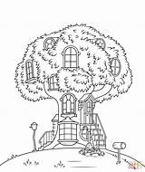 Coloring Tree Pages Treehouse Printable Popular Bears sketch template