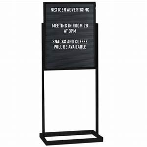 letter board 14x22 open face double pedestal black sign With letter board stand