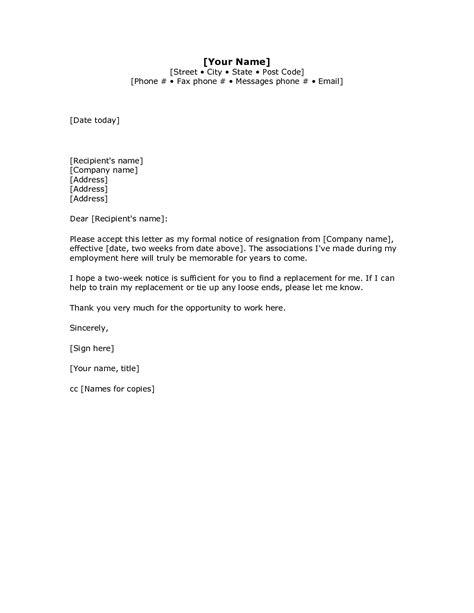 Letter Of Resignation Template Microsoft - Sample Resignation Letter