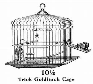 Vintage Clip Art - Trick Bird Cage - The Graphics Fairy