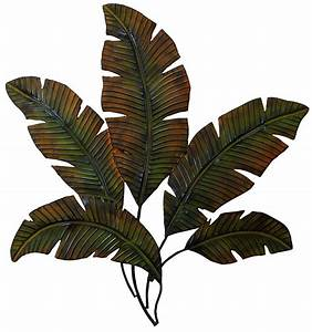 Metal palm tree leaves wall art decor tropical indoor