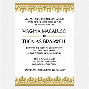 art deco wedding invitation gold black With wedding invitations venue address