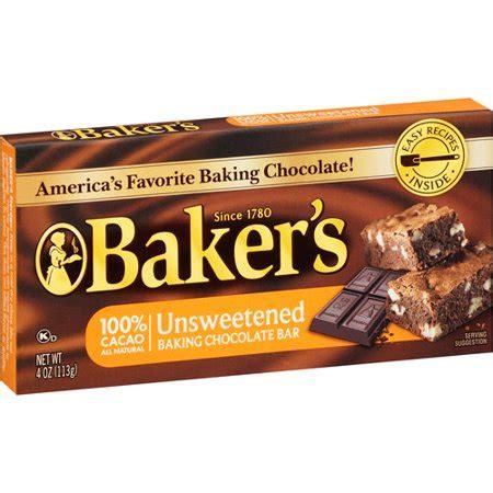 kraft bakers unsweetened baking chocolate bar  oz