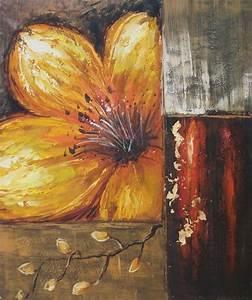 Tableau Fleurs Moderne : tableau contemporain fleur jaune fleurs rouges en peinture ~ Teatrodelosmanantiales.com Idées de Décoration
