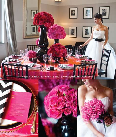 gorgeous wedding photo shoot loaded with black pink decor ideas fuchsia pink color