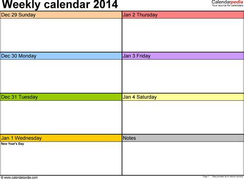 weekly calendars      printable templates