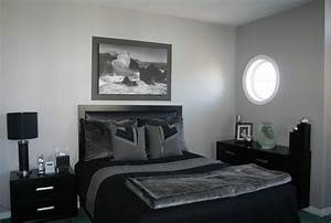 Grey & Black Bedroom - Contemporary - Bedroom - Ottawa